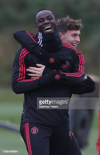 Eric Bailly and Victor Lindelof of Manchester United in action during a first team training session at Aon Training Complex on November 9 2018 in...