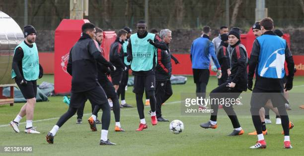 Eric Bailly and Victor Lindelof of Manchester United in action during a first team training session at Aon Training Complex on February 20 2018 in...