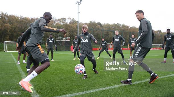 Eric Bailly Brandon Williams Nemanja Matic of Manchester United in action during a first team training session at Aon Training Complex on October 18...