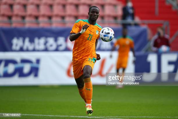 Eric Bailly of Ivory Coast in action during the international friendly match between Japan and Ivory Coast at Stadion Galgenwaard on October 13, 2020...