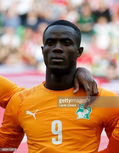 Eric Bailly of Ivory Coast listens to the anthem during the International Friendly match between Hungary and Ivory Coast at Groupama Arena on May 20...