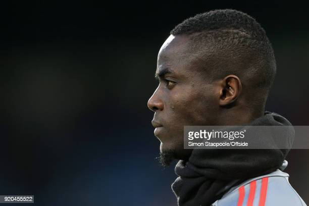 Eric Bailly of Man Utd wears a snood during the warmup before the Emirates FA Cup Fifth Round match between Huddersfield Town and Manchester United...