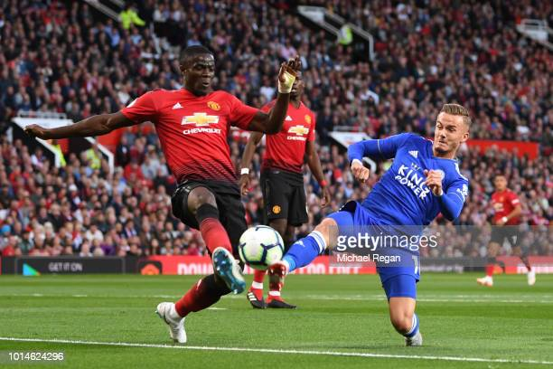 Eric Bailly of Manchester United and James Maddison of Leicester City battle for possession during the Premier League match between Manchester United...
