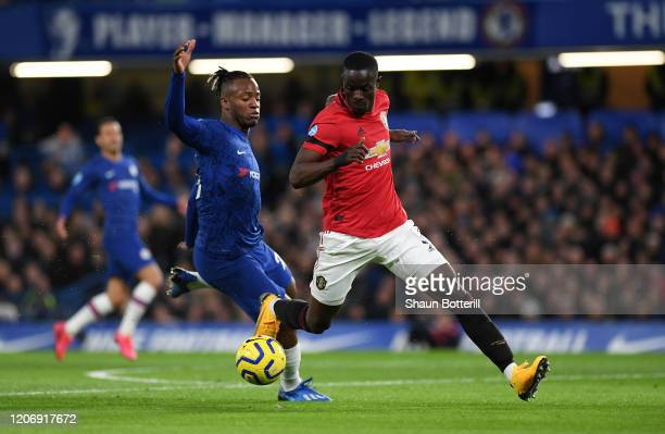 Eric Bailly of Manchester United and Michy Batshuayi of Chelsea battle for possession during the Premier League match between Chelsea FC and...