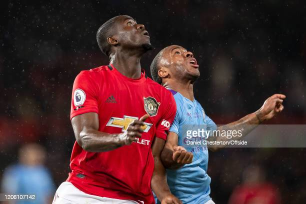 Eric Bailly of Manchester United and Raheem Sterling of Manchester City during the Premier League match between Manchester United and Manchester City...