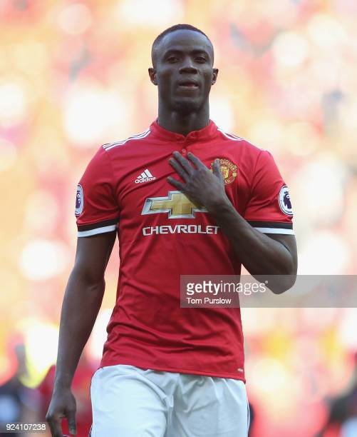 Eric Bailly of Manchester United applauds the fans after the Premier League match between Manchester United and Chelsea at Old Trafford on February...