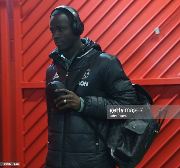 Eric Bailly of Manchester United arrives ahead of the Emirates FA Cup Quarter Final match between Manchester United and Brighton Hove Albion at Old...