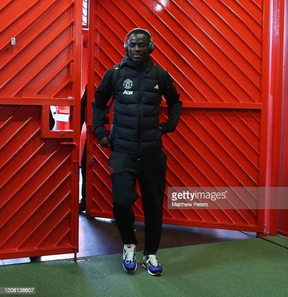 Eric Bailly of Manchester United arrives ahead of the Premier League match between Manchester United and Watford FC at Old Trafford on February 23...