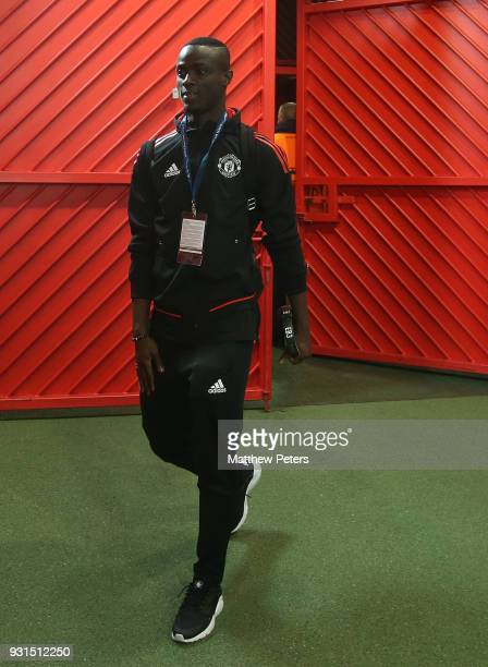 Eric Bailly of Manchester United arrives ahead of the UEFA Champions League Round of 16 Second Leg match between Manchester United and Sevilla FC at...