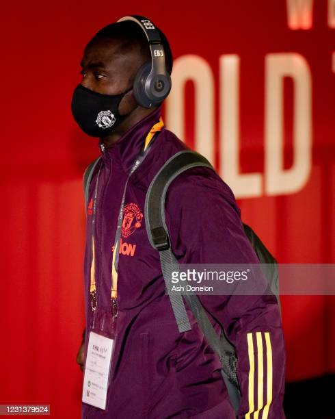 Eric Bailly of Manchester United arrives prior to the UEFA Europa League Round of 32 match between Manchester United and Real Sociedad at Old...