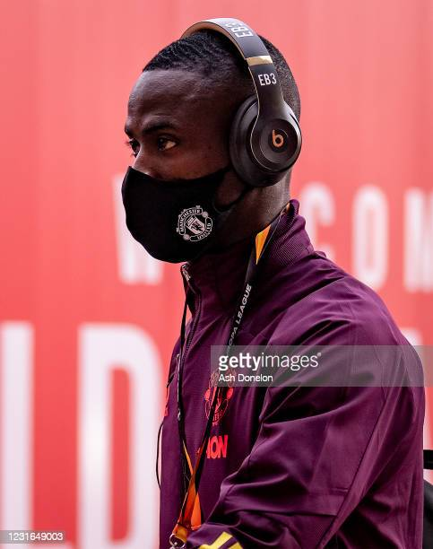 Eric Bailly of Manchester United arrives prior to the UEFA Europa League Round of 16 First Leg match between Manchester United and A.C. Milan at Old...