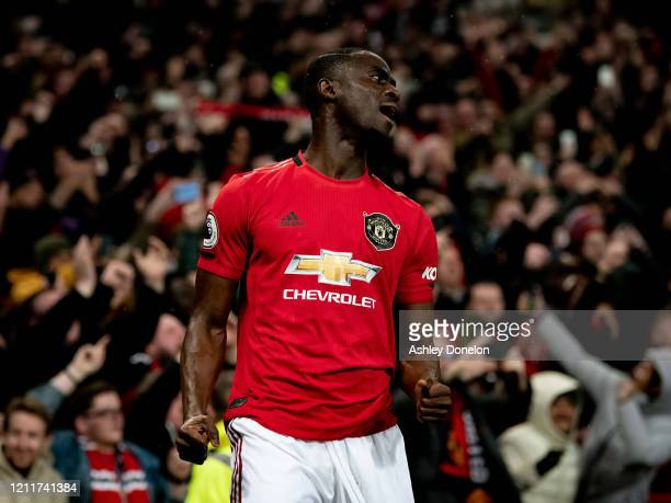 Eric Bailly of Manchester United celebrates after the Premier League match between Manchester United and Manchester City at Old Trafford on March 08...