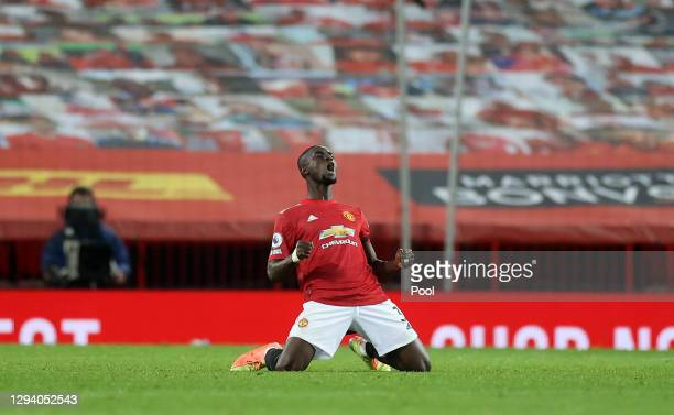 Eric Bailly of Manchester United celebrates at the final whistle of the Premier League match between Manchester United and Aston Villa at Old...