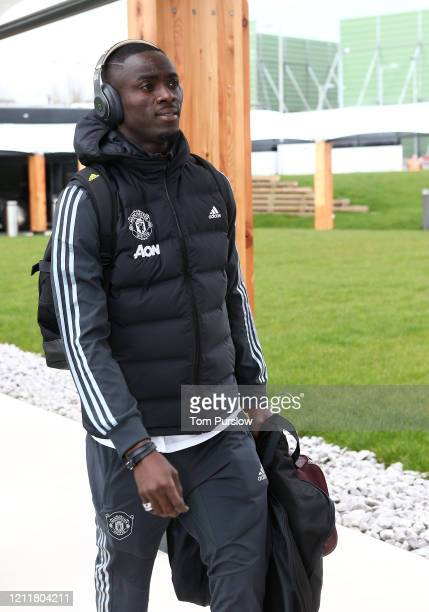 Eric Bailly of Manchester United checks in ahead of their flight to Linz at Manchester Airport on March 11 2020 in Manchester England