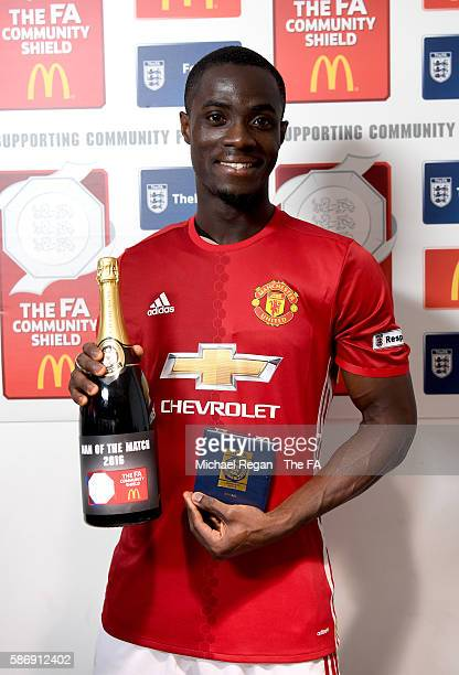 Eric Bailly of Manchester United collects his Man of the Match award after the final whistle during The FA Community Shield match between Leicester...