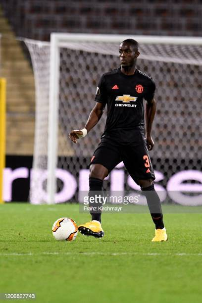 Eric Bailly of Manchester United controls the ball during UEFA Europa League Round of 16 First Leg match between LASK and Manchester United at...