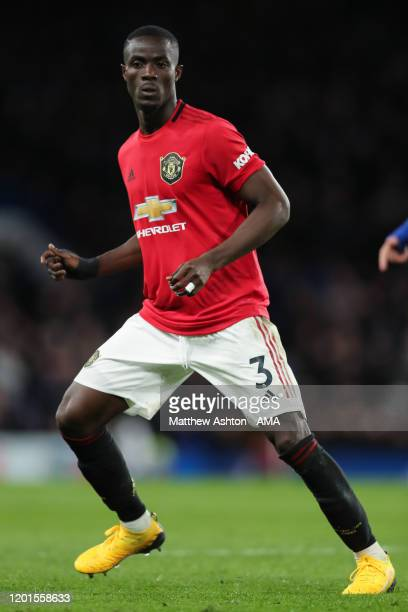 Eric Bailly of Manchester United during the Premier League match between Chelsea FC and Manchester United at Stamford Bridge on February 17 2020 in...