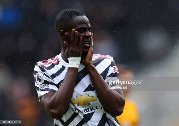 Eric Bailly of Manchester United during the Premier League match between Wolverhampton Wanderers and Manchester United at Molineux on May 23, 2021 in...