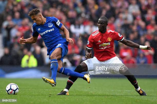 Eric Bailly of Manchester United fouls Dominic CalvertLewin of Everton during the Premier League match between Manchester United and Everton at Old...