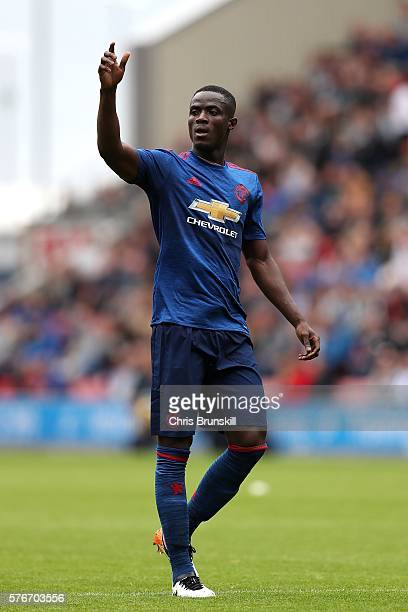 Eric Bailly of Manchester United gestures during the pre season friendly match between Wigan Athletic and Manchester United at the JJB Stadium on...