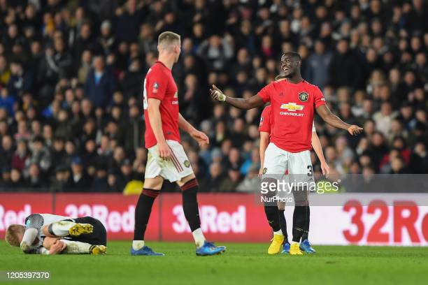 Eric Bailly of Manchester United gestures to referee during the FA Cup match between Derby County and Manchester United at the Pride Park Derby...