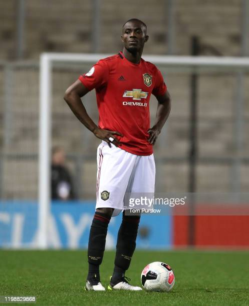 Eric Bailly of Manchester United in action duering the Premier League 2 match between Manchester United and Newcastle United at Leigh Sports Village...
