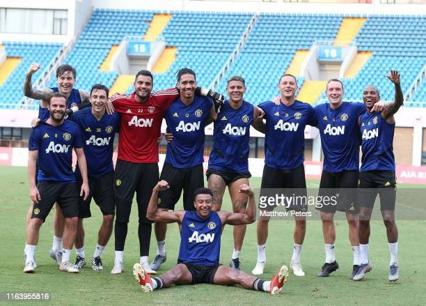 Eric Bailly of Manchester United in action during a first team training session as part of their preseason tour of Australia Singapore and China at...