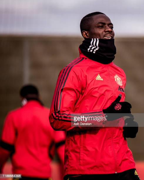 Eric Bailly of Manchester United in action during a first team training session at Aon Training Complex on November 20 2019 in Manchester England