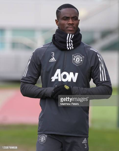Eric Bailly of Manchester United in action during a first team training session at Aon Training Complex on February 26 2020 in Manchester England