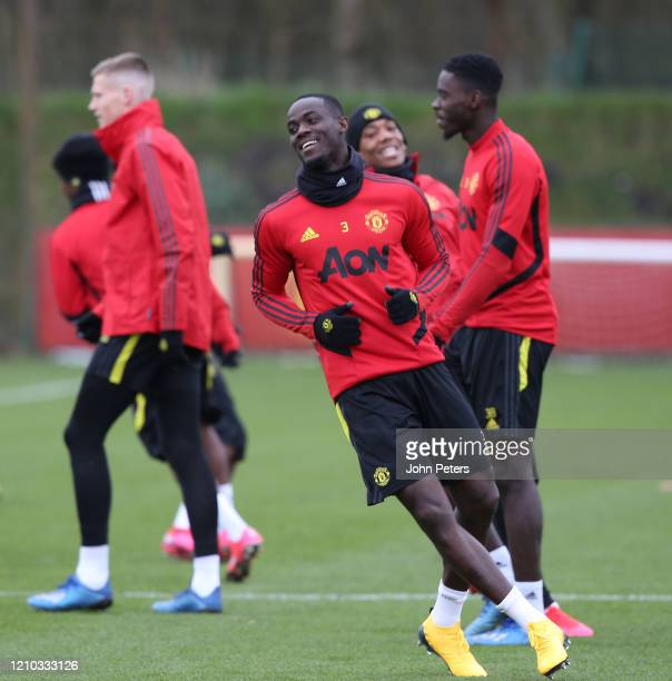 Eric Bailly of Manchester United in action during a first team training session at Aon Training Complex on March 04 2020 in Manchester England