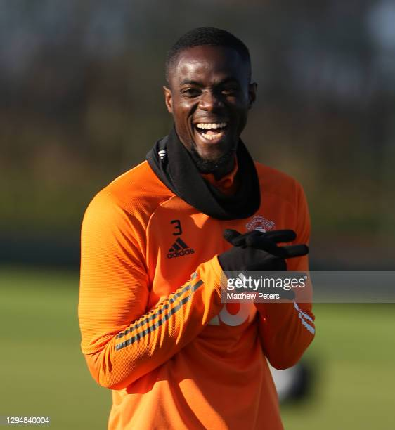 Eric Bailly of Manchester United in action during a first team training session at Aon Training Complex on January 05, 2021 in Manchester, England.