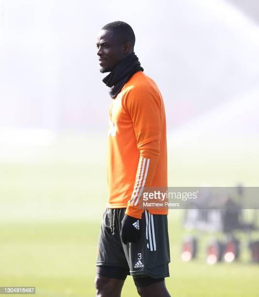 Eric Bailly of Manchester United in action during a first team training session at Aon Training Complex on March 02, 2021 in Manchester, England.