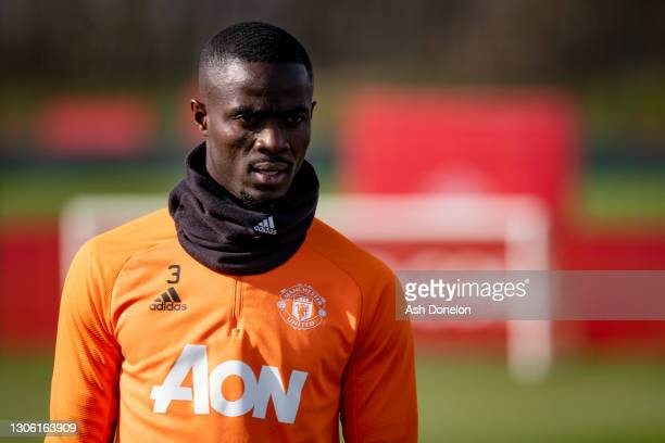 Eric Bailly of Manchester United in action during a first team training session at Aon Training Complex on March 09, 2021 in Manchester, England.