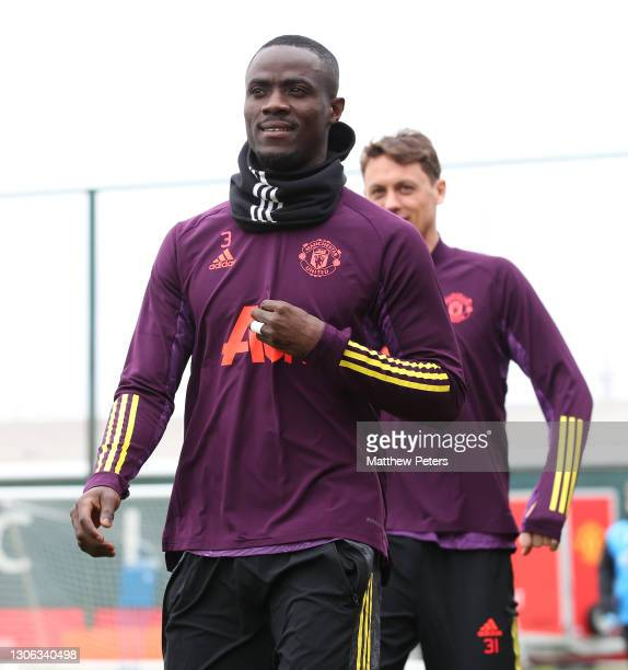 Eric Bailly of Manchester United in action during a first team training session at Aon Training Complex on March 10, 2021 in Manchester, England.