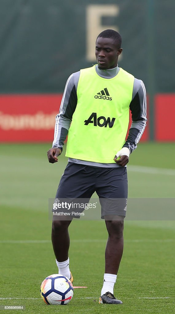 Eric Bailly of Manchester United in action during a first team training session at Aon Training Complex on August 22, 2017 in Manchester, England.