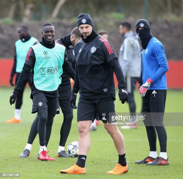 Eric Bailly of Manchester United in action during a first team training session at Aon Training Complex on February 20 2018 in Manchester England