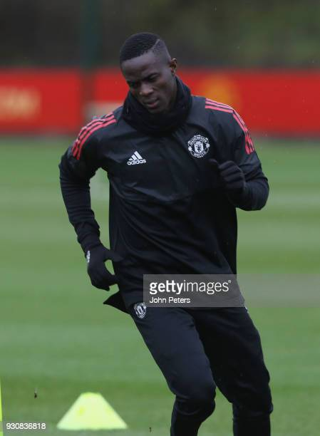 Eric Bailly of Manchester United in action during a first team training session at Aon Training Complex on March 12 2018 in Manchester England