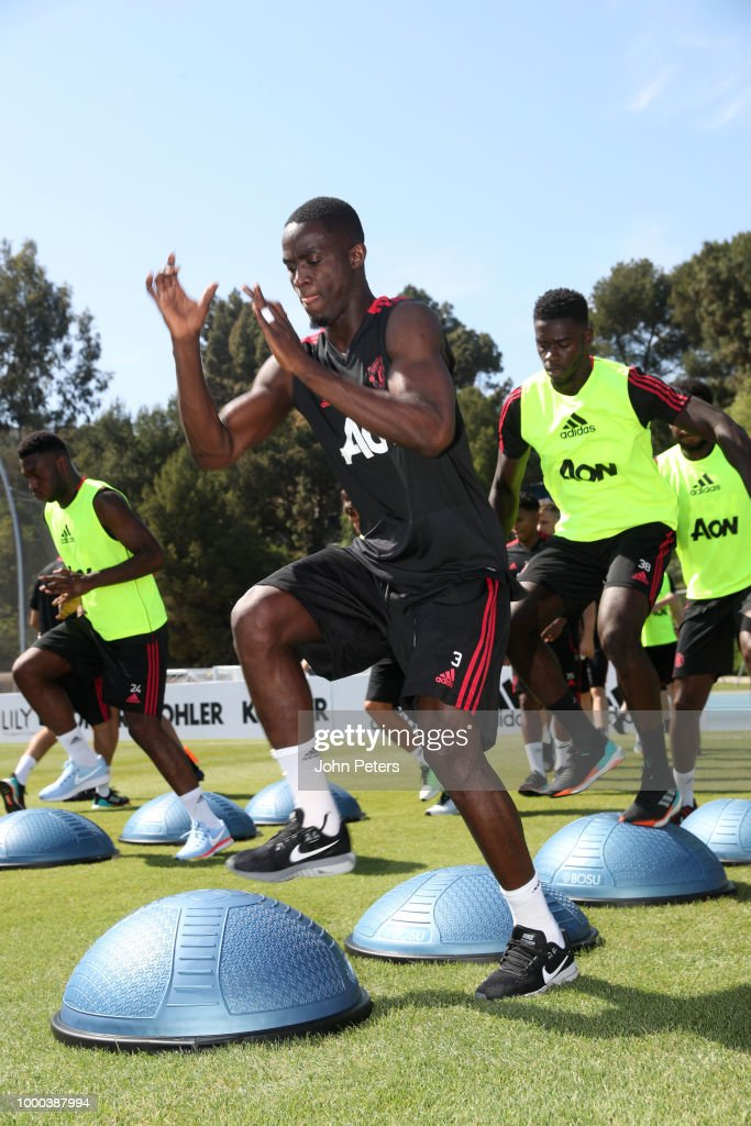 Eric Bailly of Manchester United in action during a Manchester United pre-season training session at UCLA on July 16, 2018 in Los Angeles, California.