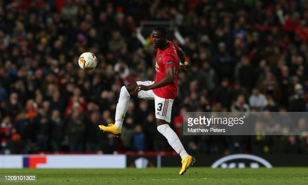 Eric Bailly of Manchester United in action during the UEFA Europa League round of 32 second leg match between Manchester United and Club Brugge at...