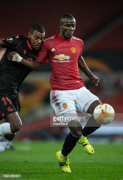 Eric Bailly of Manchester United in action during the UEFA Europa League Round of 32 match between Manchester United and Real Sociedad at on February...