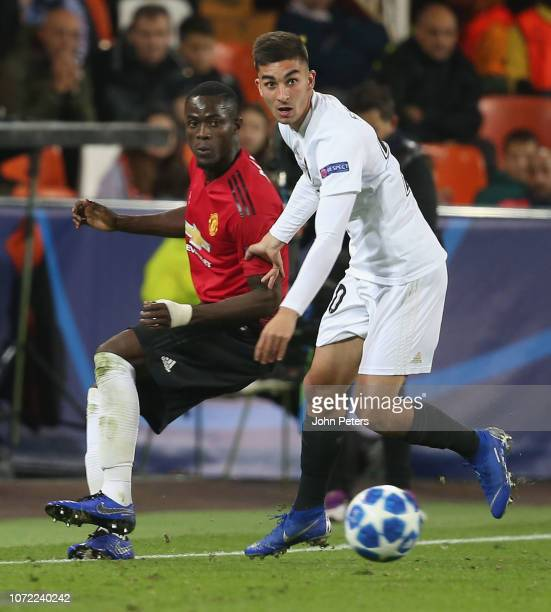 Eric Bailly of Manchester United in action with Ferran Torres of Valencia during the UEFA Champions League Group H match between Valencia and...