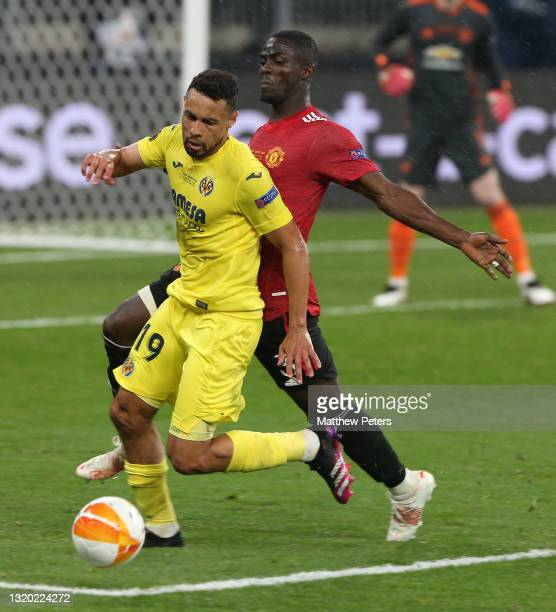 Eric Bailly of Manchester United in action with Francis Coquelin of Villareal CF during the UEFA Europa League Final between Villarreal CF and...