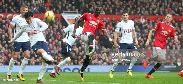 Eric Bailly of Manchester United in action with HeungMin Son of Tottenham Hotspur during the Premier League match between Manchester United and...