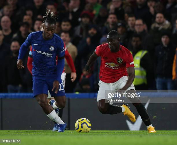 Eric Bailly of Manchester United in action with Michy Batshuayi of Chelsea during the Premier League match between Chelsea FC and Manchester United...