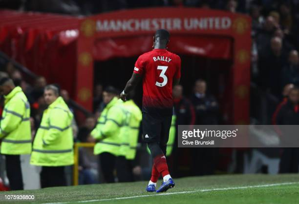 Eric Bailly of Manchester United is shown a red card and is sent off during the Premier League match between Manchester United and AFC Bournemouth at...