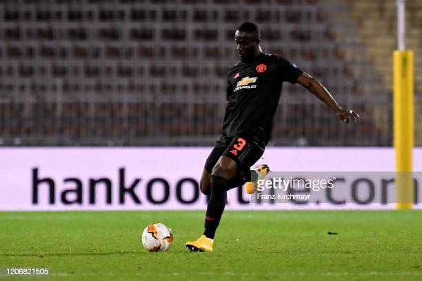 Eric Bailly of Manchester United kicks the ball during UEFA Europa League Round of 16 First Leg match between LASK and Manchester United at Stadion...
