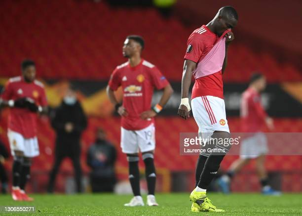 Eric Bailly of Manchester United looks dejected during the UEFA Europa League Round of 16 First Leg match between Manchester United and A.C. Milan at...