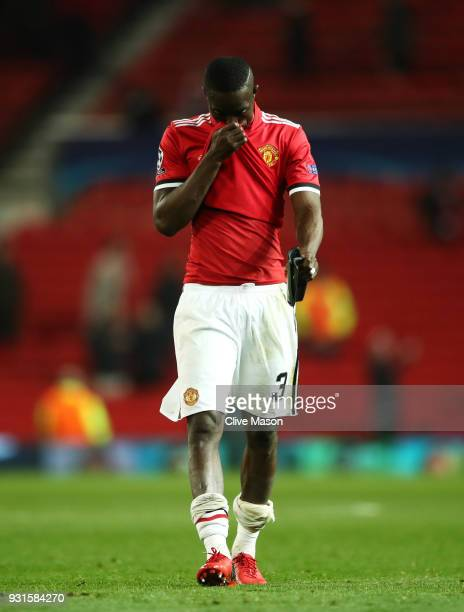 Eric Bailly of Manchester United looks dejected in defeat after the UEFA Champions League Round of 16 Second Leg match between Manchester United and...
