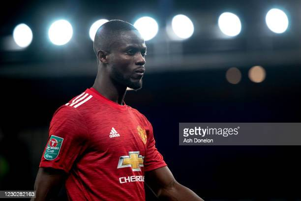 Eric Bailly of Manchester United looks on during the Carabao Cup Quarter Final match between Everton and Manchester United at Goodison Park on...