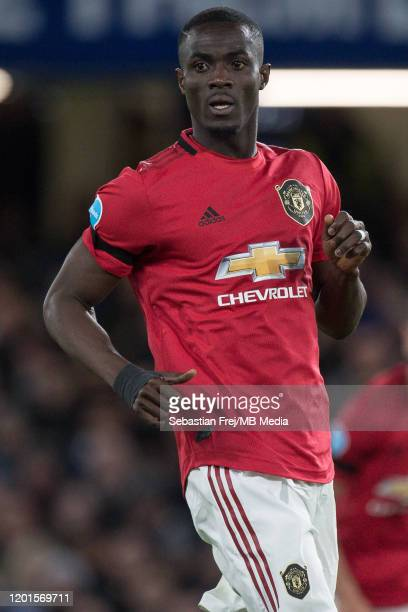 Eric Bailly of Manchester United looks on during the Premier League match between Chelsea FC and Manchester United at Stamford Bridge on February 17...